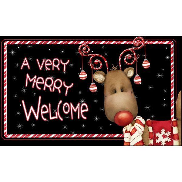 Toland Home Garden Candy Cane Reindeer Doormat