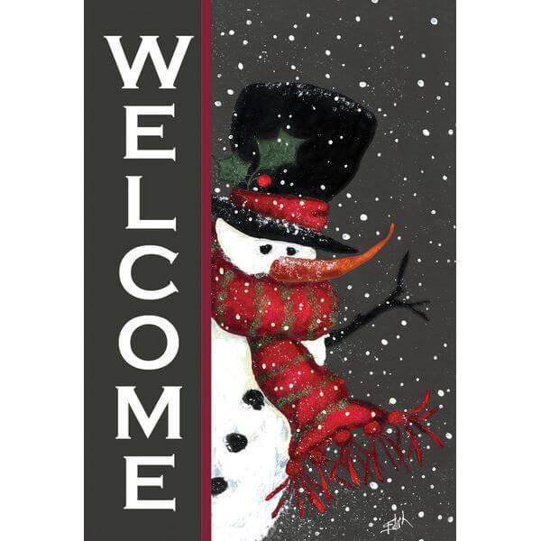 'Snowman Welcome' Double Sided Christmas Garden Flag
