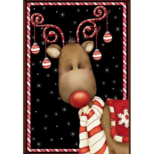 'Candy Cane Reindeer' Double Sided Christmas Garden Flag