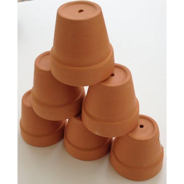 Mini Terra Cotta Clay Pots - Set of 6