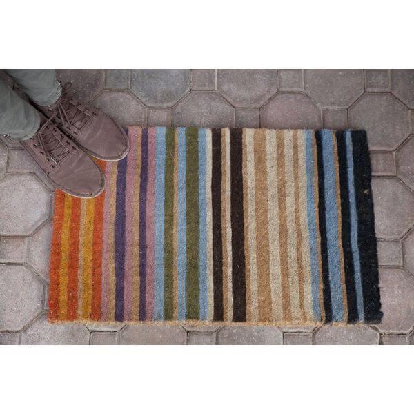 Rainbow Stripe Hand Made Extra Thick Coir Doormat