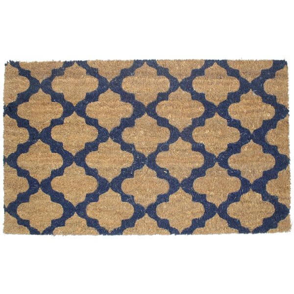 J & M Home Fashions Moroccan Blue Vinyl Back Coco Doormat