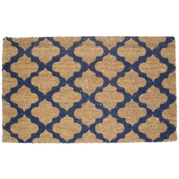 J & M Home Fashions Moroccan Blue Vinyl Back Coco Doormat