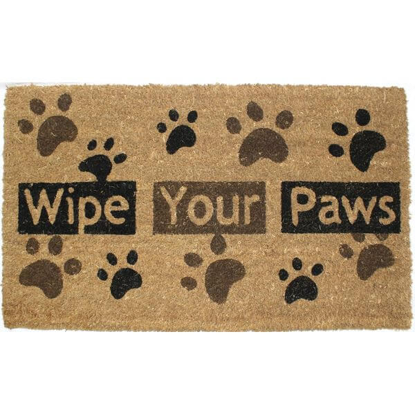 J & M Home Fashions Paw Prints Vinyl Back Coco Doormat