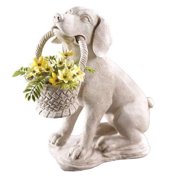 Puppy Dog with Basket Garden Statue