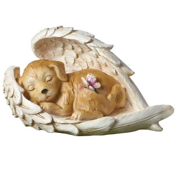 Guardian Angel Wings Sleeping Dog Statue