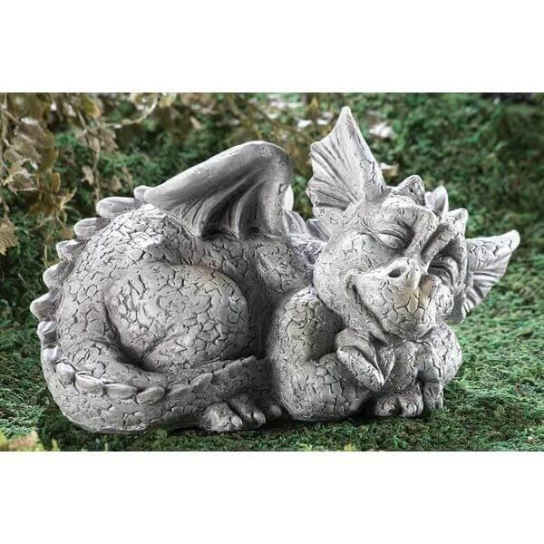 Mythical Sleeping Baby Dragon Garden Statue