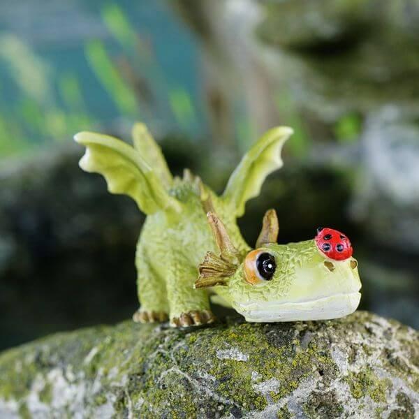 Mini Dragon Playing with Ladybug Garden Statue