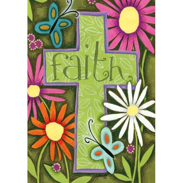 Cross 'Faith' Garden Flag