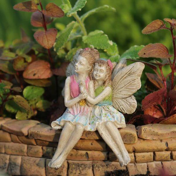 Miniature Sitting Fairies Garden Statue