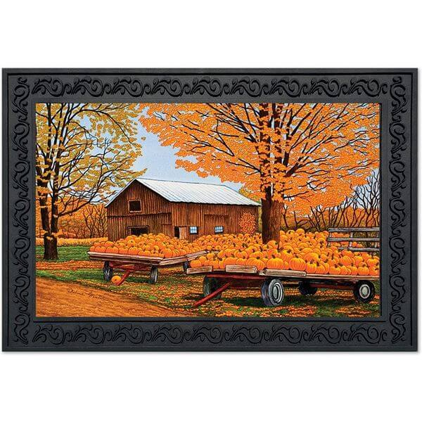Pumpkinville Farm Scene Fall Doormat