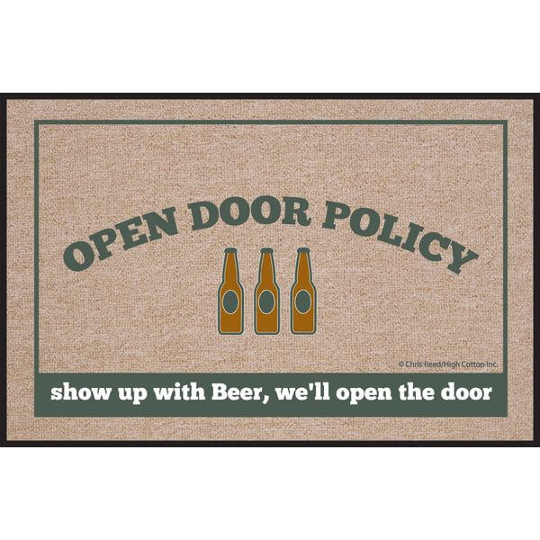 High Cotton Open Door Policy Beer Doormat