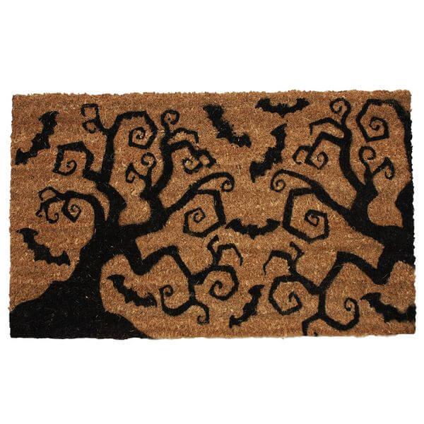 J & M Home Fashions Halloween Bats & Trees Vinyl Back Coco Doormat