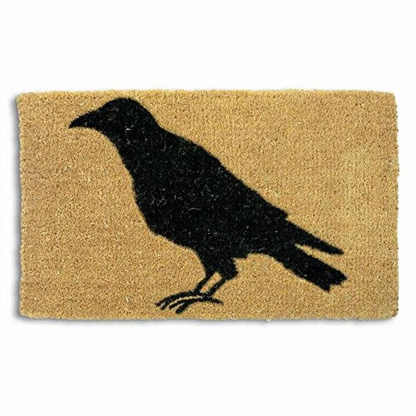 Black Crow Silhouette Coir Door Mat