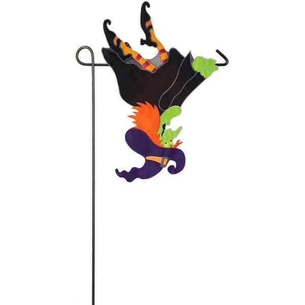 Upside Down Flying Witch Halloween Garden Flag