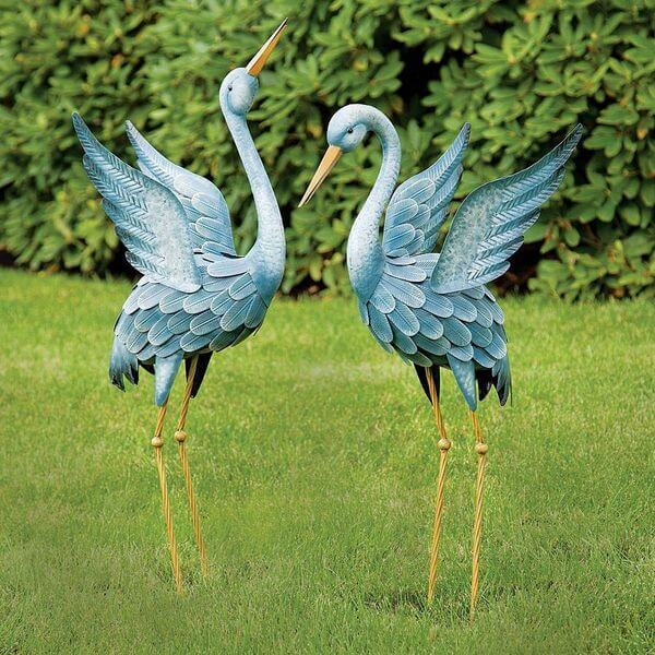 Japanese Blue Heron Metal Garden Sculpture Set