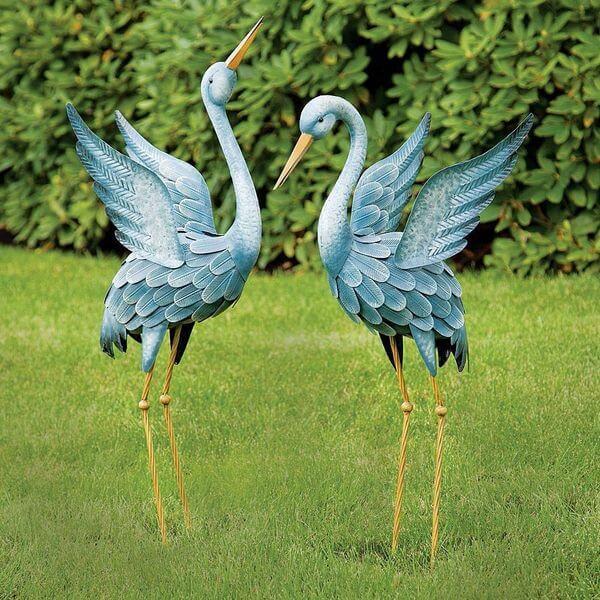 Japanese Blue Heron Metal Garden Sculpture Set