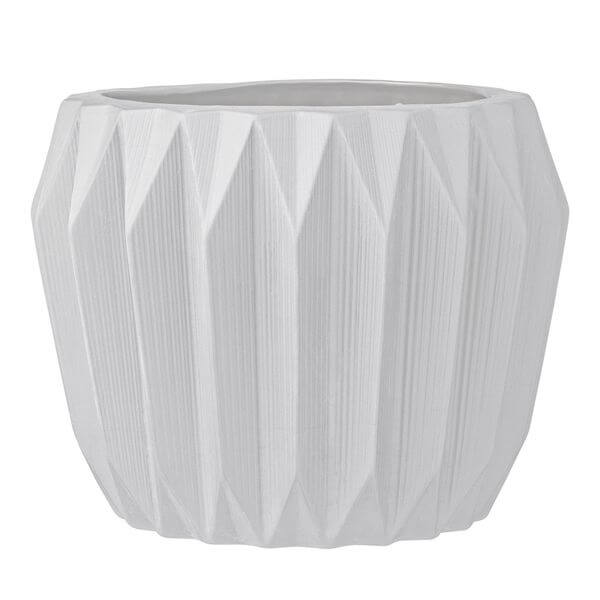 Bloomingville Round Ceramic Fluted Large White Flower Pot