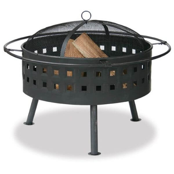Endless Summer Aged Bronze Outdoor Firebowl with Lattice Design