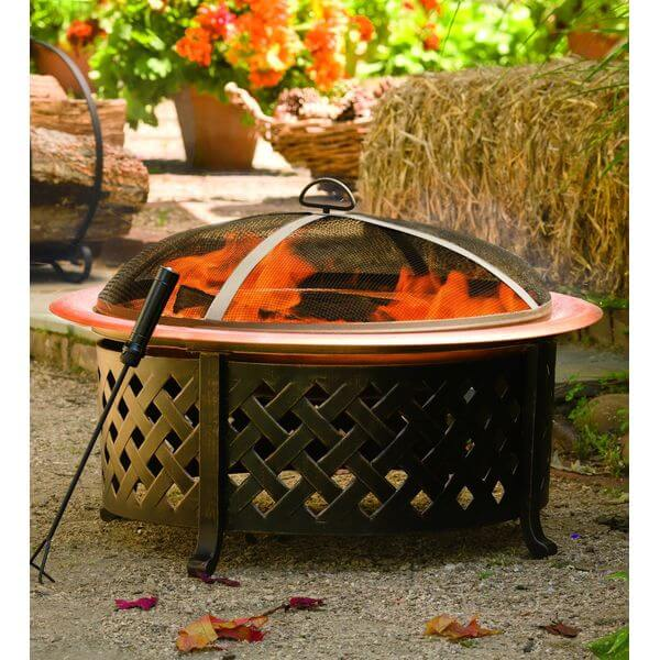 Plow & Hearth Lattice Side Fire Pit with Fire Bowl