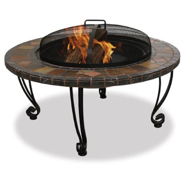Endless Summer Slate & Marble Firepit with Copper Accents