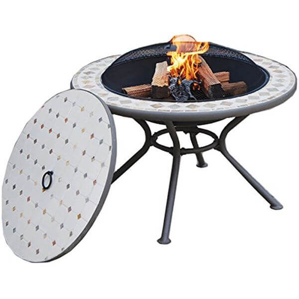 Deeco Consumer Products Marble Milano Fire Pit Table
