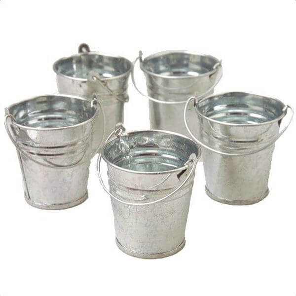 Mini Metal Buckets, Pack of 12