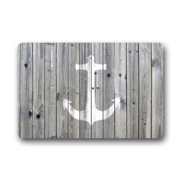Gray Wood Pattern Anchor Doormat