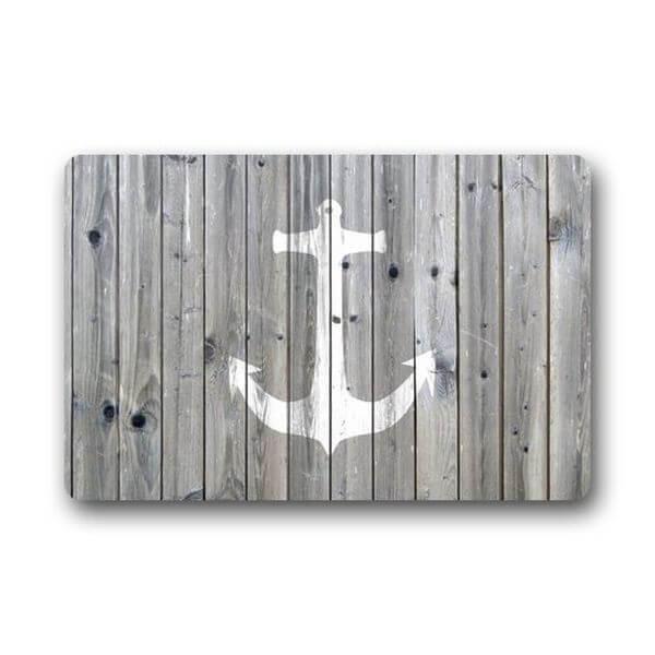 Gray Wood Pattern Anchor Doormat