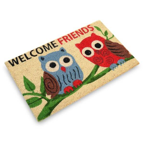 Milliard 'Welcome Friends' Owls Printed Coir Entrance Doormat