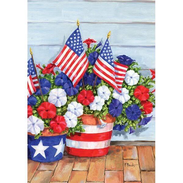 Toland 'Patriotic Pansies' Patriotic Garden Flag