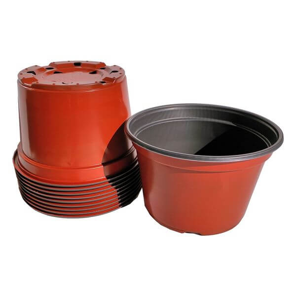 8-Inch Round Plastic Flower Pots, 10 Pack