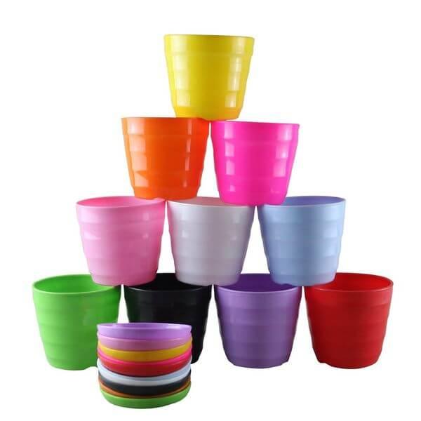 Truedays Multicolored Resin Circle Flower Plant Pots, 10 Pack