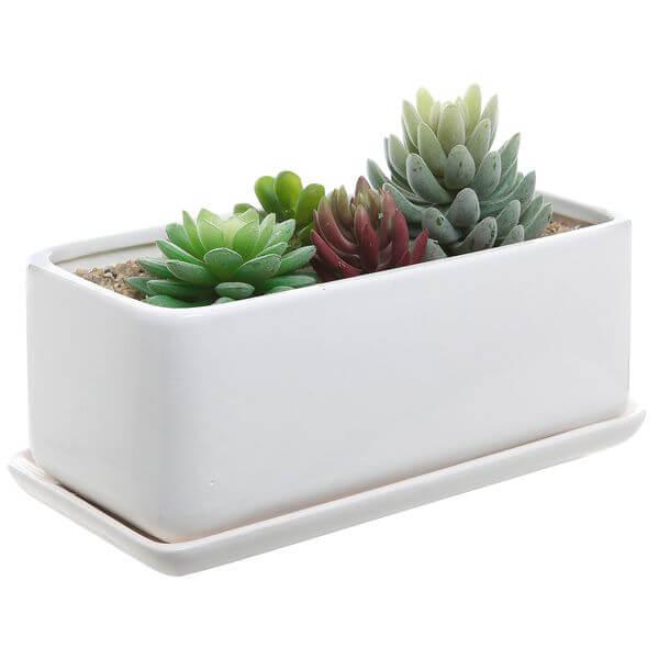 Modern White Ceramic Rectangular Flower Pot
