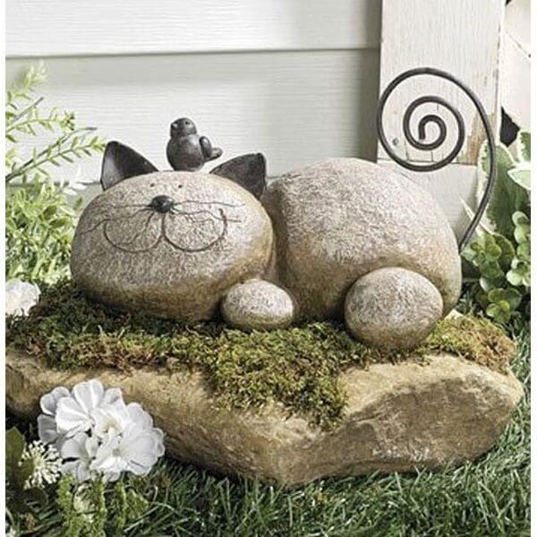 Resting Stone Cat Resin Garden Statue