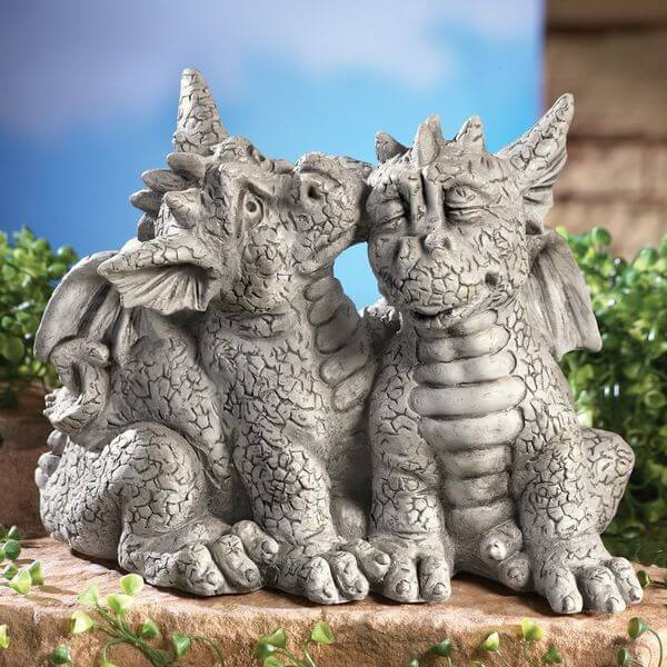 Dragons In Love Garden Statue