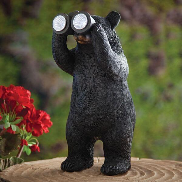 Bear With Binoculars Solar Statue