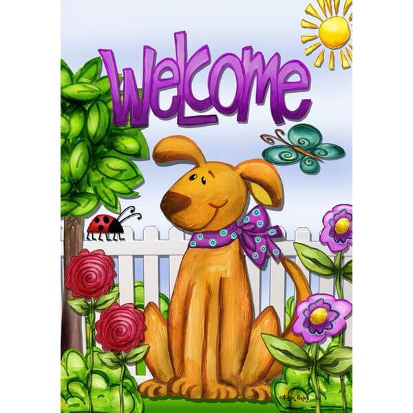 Welcome Dog Spring Garden Flag