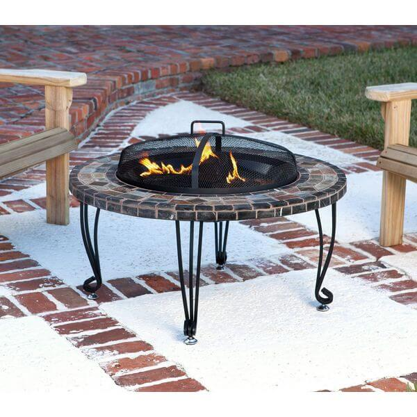 AmazonBasics Natural Stone Fire Pit with Copper Accents