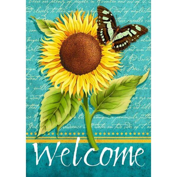 Sunflower Welcome Summer Garden Flag