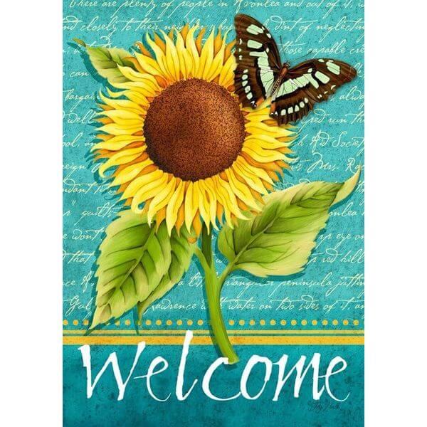 Sunflower Welcome Summer Garden Flag
