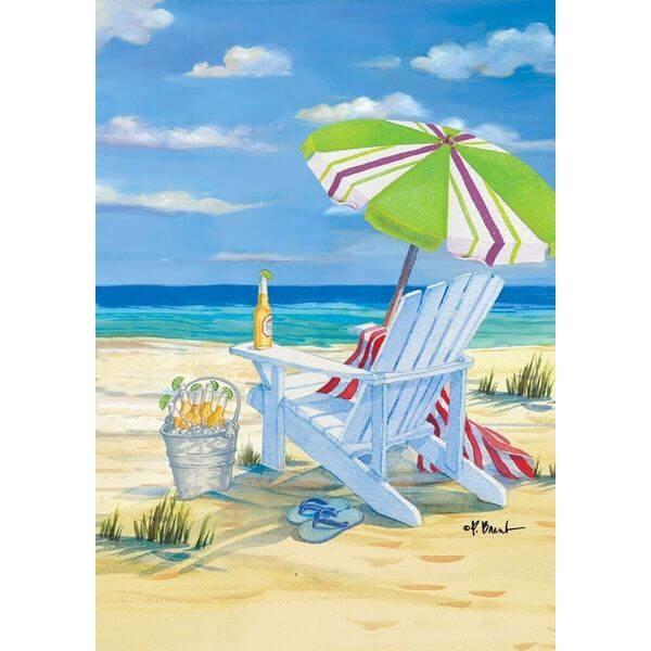 5 O'Clock Beach Summer Garden Flag