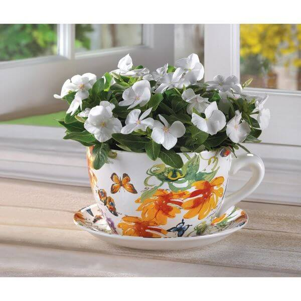 Gifts & Decor Butterfly Print Teacup Flower Pot
