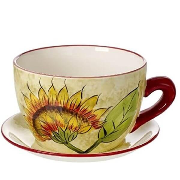 Original Cucina Italiana Ceramic Teacup Flower Pot