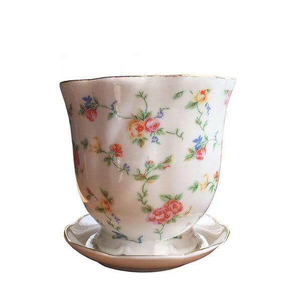 'Petite Flowers' Tea Cup Flower Pot