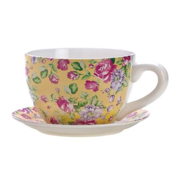 Gifts & Decor China Rose Teacup Flower Pot