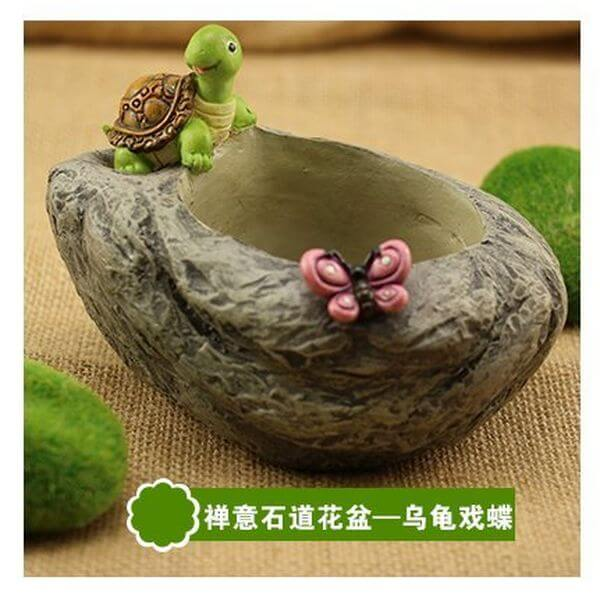 Resin Stone Figurine with Turtle Flower Pot
