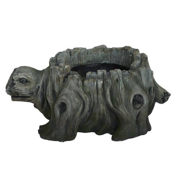 Faux Carved Wood Turtle Planter
