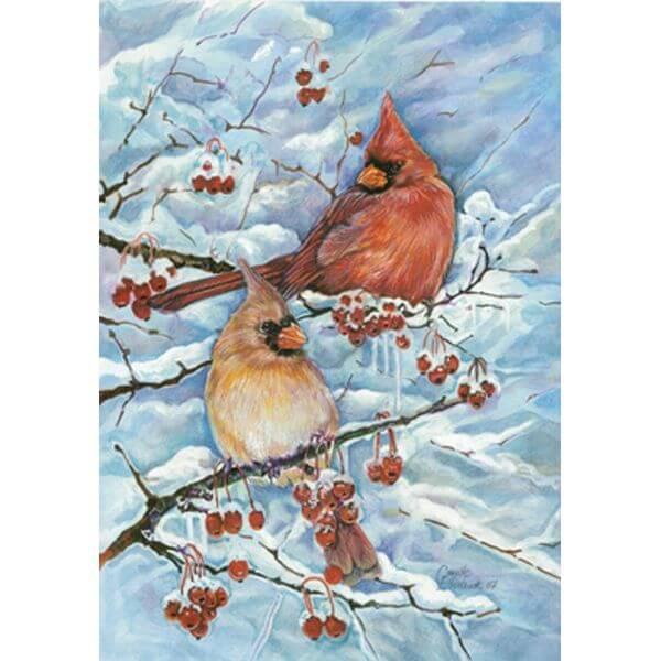 Toland 'Cardinals & Berries' Winter Garden Flag